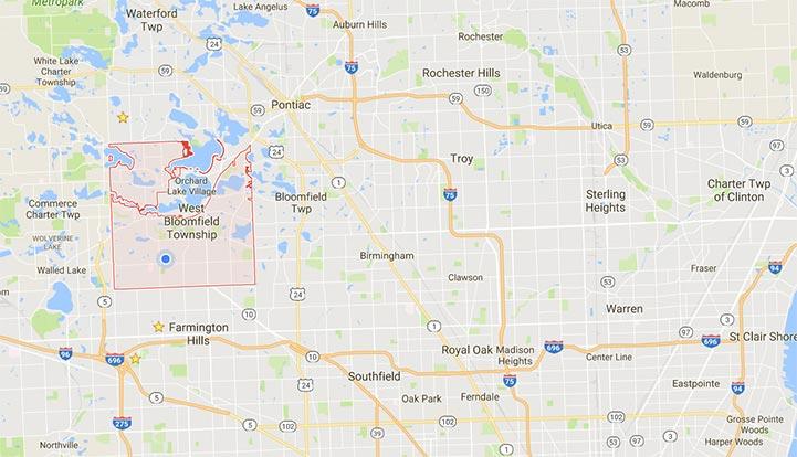West Bloomfield Metro Detroit Map