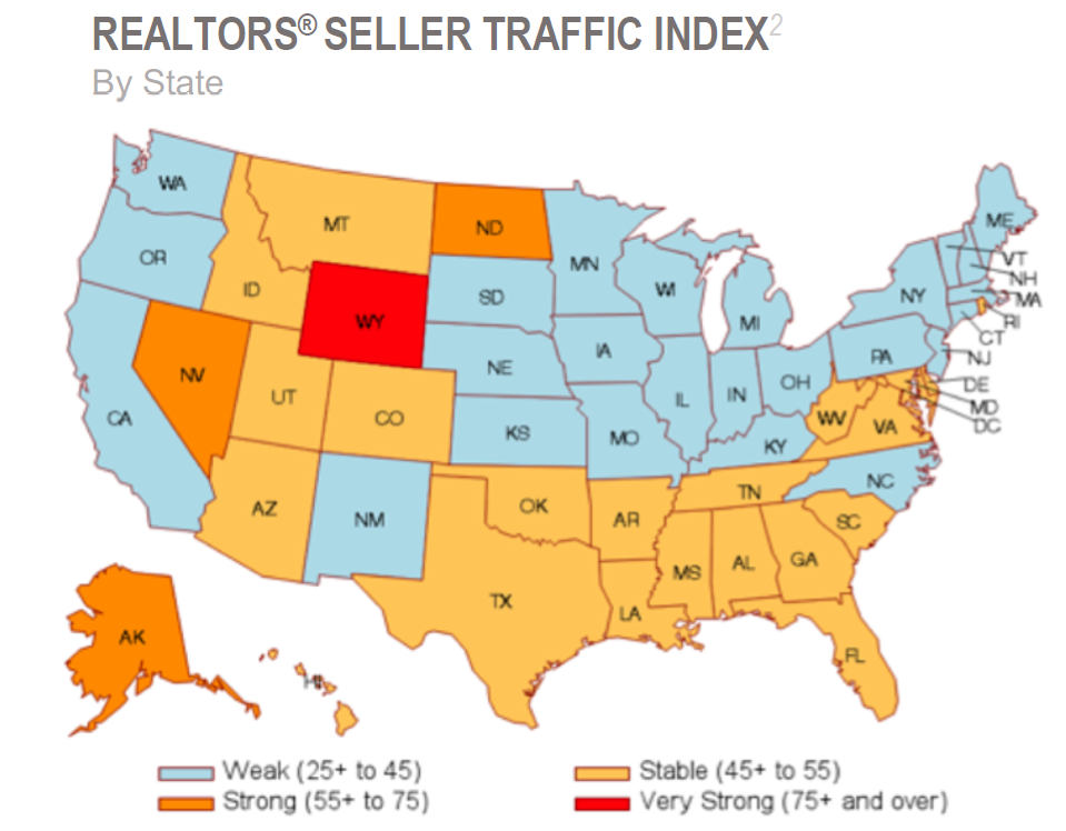 Heatmap illustration of the Realtor Seller Traffic Index by State.