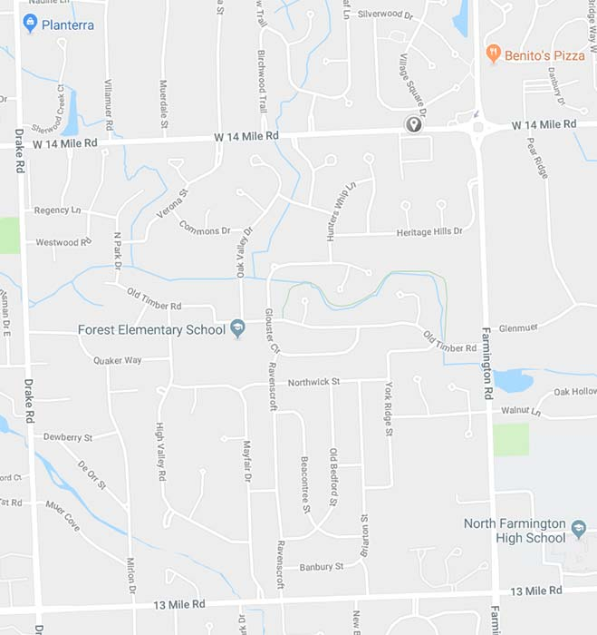 Map of Farmington Hills communities of Heritage Hills and Rolling Oaks. Centered in these neighborhoods is Forest Elementary School, and surrounding the area are Benitos Pizza, Plantera, and North Farmington High School to the southeast.