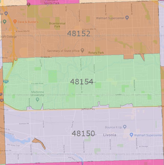 Map of Livonia Zip Codes 48152, 48154 and 48150.